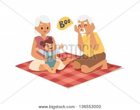 Grandfather, grandmother and granddaughter happy family outdoors. Grandfather, grandmother and granddaughter. Vector grandfather, grandmother family smiling together with granddaughter characters.