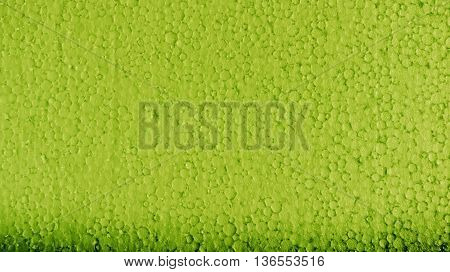 poly-foam the painted in green color, uneven surface, small drawing a circle, glints in the sun, the lower part of dark green color