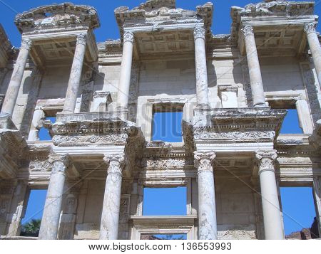 The ancient ruins in Ephesus. The Library of Celsus was the third richest library in ancient times after the Alexandra and Pergamum.