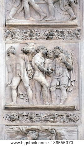 BOLOGNA, ITALY - JUNE 04: The Story of Joseph and His Brethren by Amico Aspertini, right door of San Petronio Basilica in Bologna, Italy, on June 04, 2015