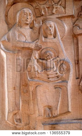 KLEINOSTHEIM, GERMANY - JUNE 08: Nativity Scene, Birth of Jesus, Saint Lawrence church in Kleinostheim, Germany on June 08, 2015.
