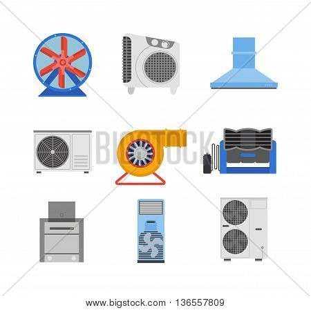 Industrial fan to remove water damage. Technology electric cooling power equipment industrial fan. Vector ventilation turbine industrial fan cold conditioner vent engine blade condition construction.