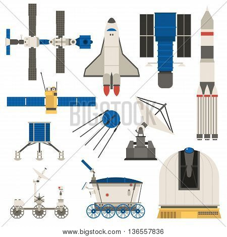 Collection space ship, planets space transport science technology. Fantasy shuttle space ship and universe future planet space transport. Cosmonaut futuristic isolated cartoon fly vector technology.