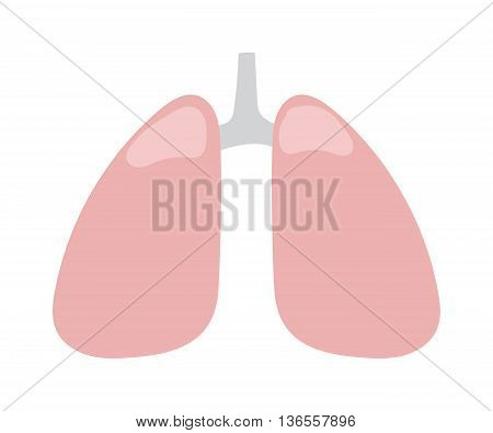 Human lung icon medical healthy chest sign body organ. Vector medical character lung icon breathe shape healthcare. Tracheal disease silhouette lung icon anatomical organ simple design.