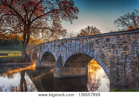 The Burnside Bridge was a central element in the Battle of Antietam in September 1862. The bridge was built in 1836 to provide a route across the Antietam Creek for farmers to take their crops to market.