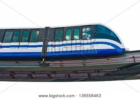 Electric monorail train modern public transport on white background Moscow Russia