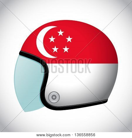 Vector stock of retro classic motorcycle helmet with Singapore flag