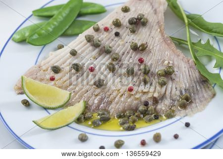 Delicious plate of Skate with Caper Butter