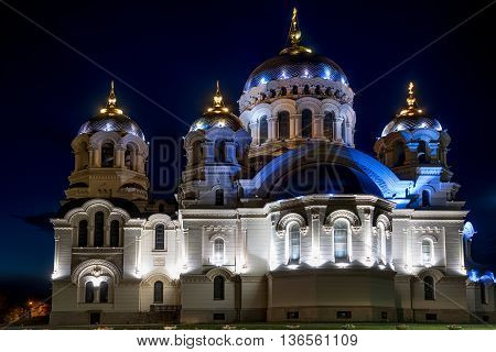 Russian orthodox cathedral of Ascention in Novocherkassk, Russia at night