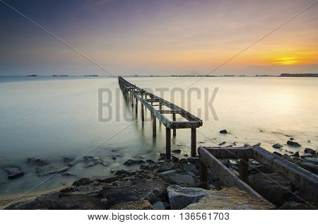 Beautiful Sunrise view at fisherman jetty .