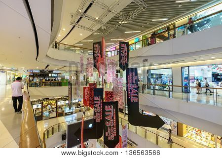 Bangkok Thailand - June 25 2016: Central Plaza Rama 9 the most recent addition of CentralPlaza brand in Bangkok sits amidst the bustling intersection of Rama 9