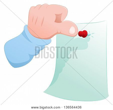 illustration of a hand push pin note