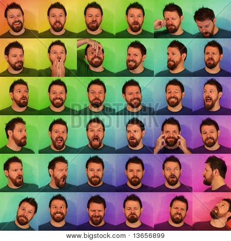 36 funny portraits of a man with a beard pulling faces. Background has been processed to appear colourful and cheery