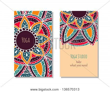 Cards template for yoga studio or yoga class. Yoga retreat. Vector editable template with front and back side.