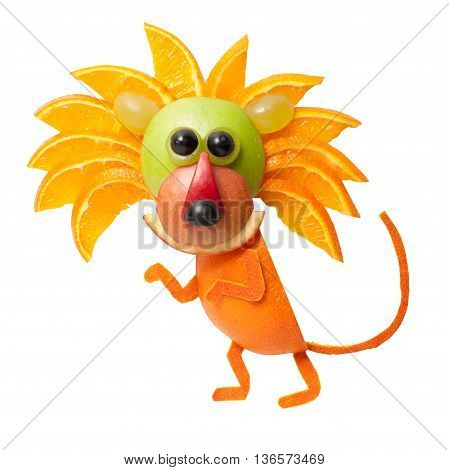 Sneaky lion made of orange on isolated background