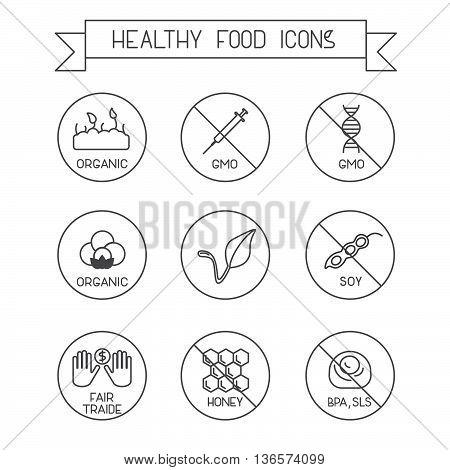 Set of modern line design icons. Use it for marking packs of healthy food free of gluten, sugar, gmo, milk, trans fat,eggs,nuts,soy, honey, bpa, sls. Vegan, fair traide, organic marking.