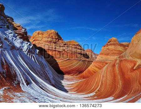 Rock formation and pattern in winter at The Wave, Arizona.
