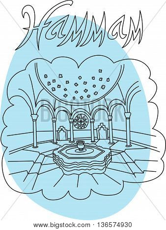 This is perfect linear hand drawn style illustration in vector of hammam topic. The most famous turkey spa. Perfect for web, banners, advertising and at you will.