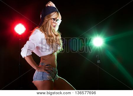 Woman With Hot Perfect Body With Green And Red Light Behind