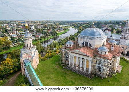 top view of Boris and Gleb Monastery in city Torzhok Russia
