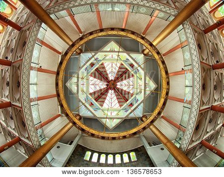 Nice geometric from architecture of mosque's ceiling