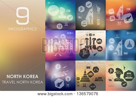 North Korea vector infographics with unfocused blurred background