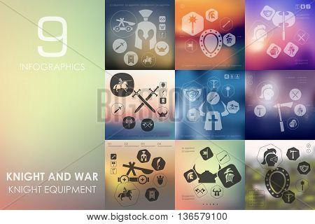 knight and war vector infographics with unfocused blurred background