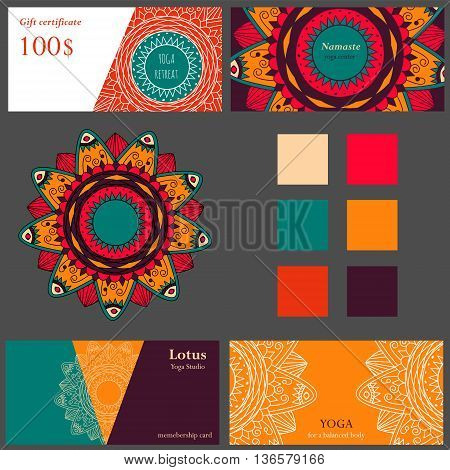 Cards template for yoga studio or yoga class. Yoga retreat. Vector editable template with gift card and visit cards or flyer. Yoga banner set for web.