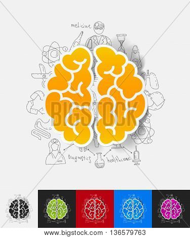 hand drawn simple elements with brain paper sticker shadow