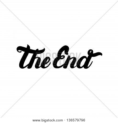 Movie ending hand written lettering The End. Beautiful typography. Vector illustration.