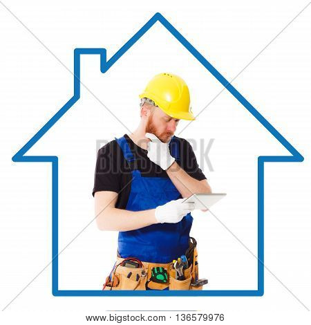 Man builder in the helmet and blue uniform with a belt of construction tools and tablet in the hands. Isolated with blank copy space area for text or slogan