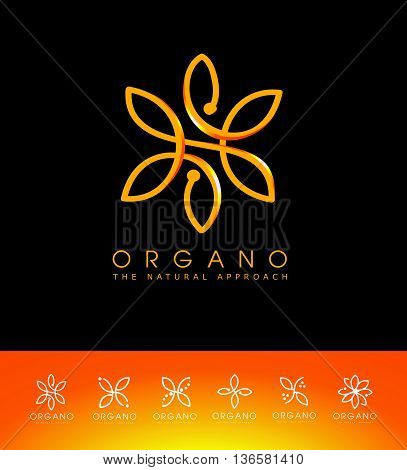 Organic Vector Logo Set. Linear and Natural Emblem Design. Cosmetic Beauty Spa Leaf Ecology Monogram made with leafs.