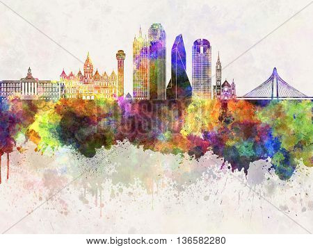 Dallas skyline in watercolor background artistic abstract
