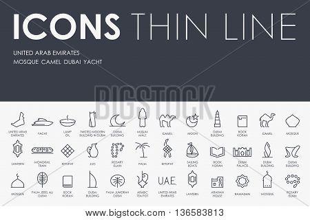 Thin Stroke Line Icons of United Arab Emirates on White Background