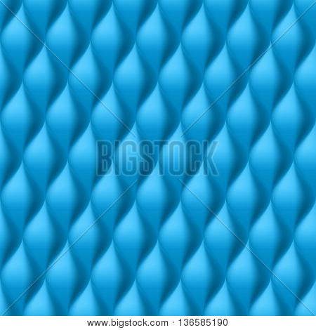 Vertical Convex Wavy Seamless Pattern. Blue Color Background