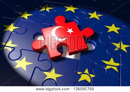 3d illustration Accession negotiations between Turkey and the EU symbolized as a puzzle