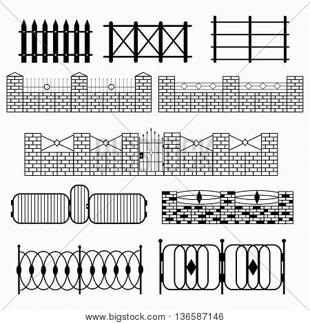 black fence collection of symbols vector illustration abstract high quality