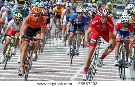 KL, MALAYSIA - 1 FEBRUARY: Cyclists from various teams at the le Tour de Langkawi race, Stage 10 from Shah Alam to KL on February 1 2011 in Kuala Lumpur, Malaysia