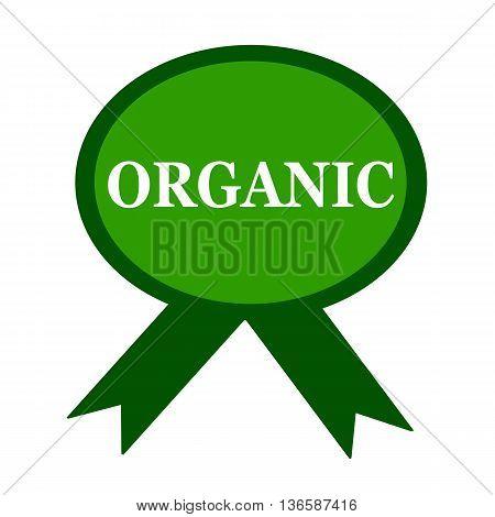 organic white wording on background green ribbon