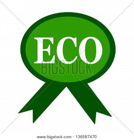 ECO white wording on background green ribbon
