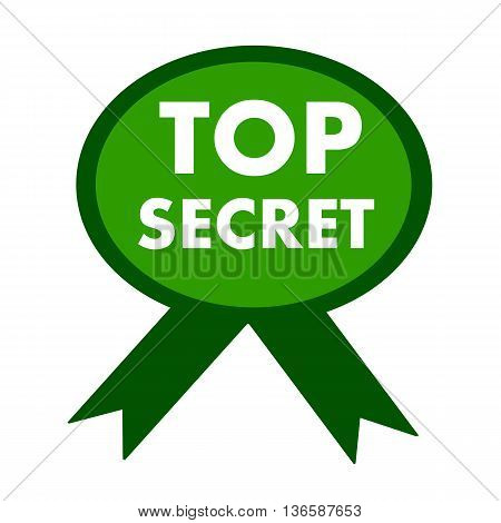 top secret white wording on background green ribbon