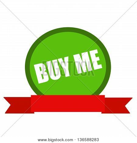 Buy me white wording on Circle green background ribbon red