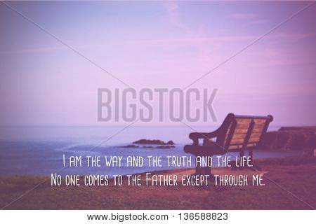 Inspirational verse from the bible on a blurred background poster