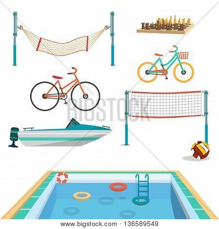Set of summer sport beach objects. Swimming pool motor boat volleyball net hammock bicycles chess