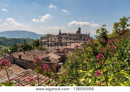 Scenic view of the Palace of Urbino in Italy