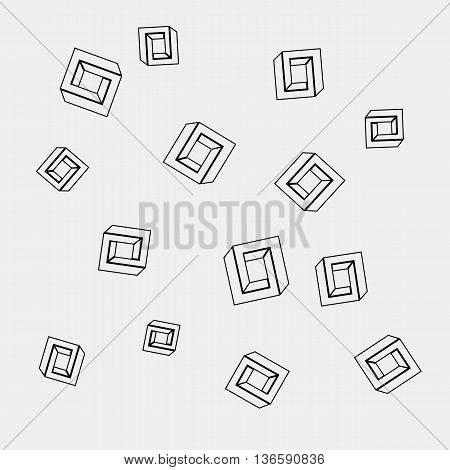 Geometric seamless simple monochrome minimalistic pattern of impossible shapes