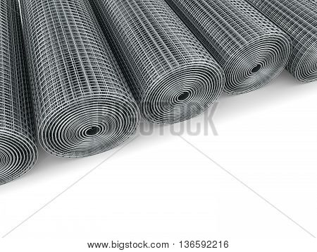 Galvanized welded wire mesh twisted into a roll on a white background. 3D illustration poster