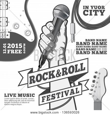 Rock and roll festival concept poster. Hand holding a microphone in a fist. Black and white illustration . mixed media.