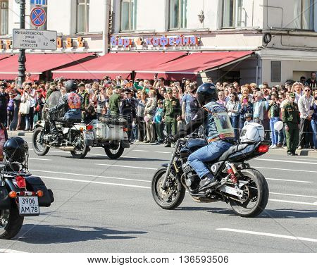 St. Petersburg, Russia - 9 May, Bikers in action
