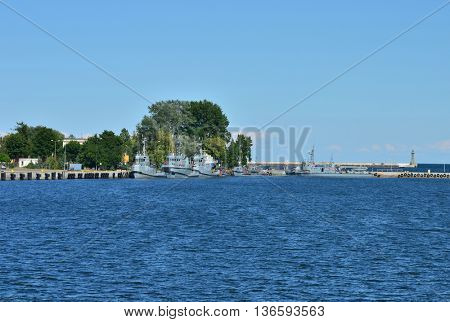Polish navy sea port in Gdynia. Few military small ships standing there.